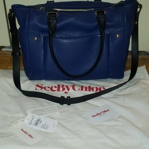 See by Chloe blue leather tote bag